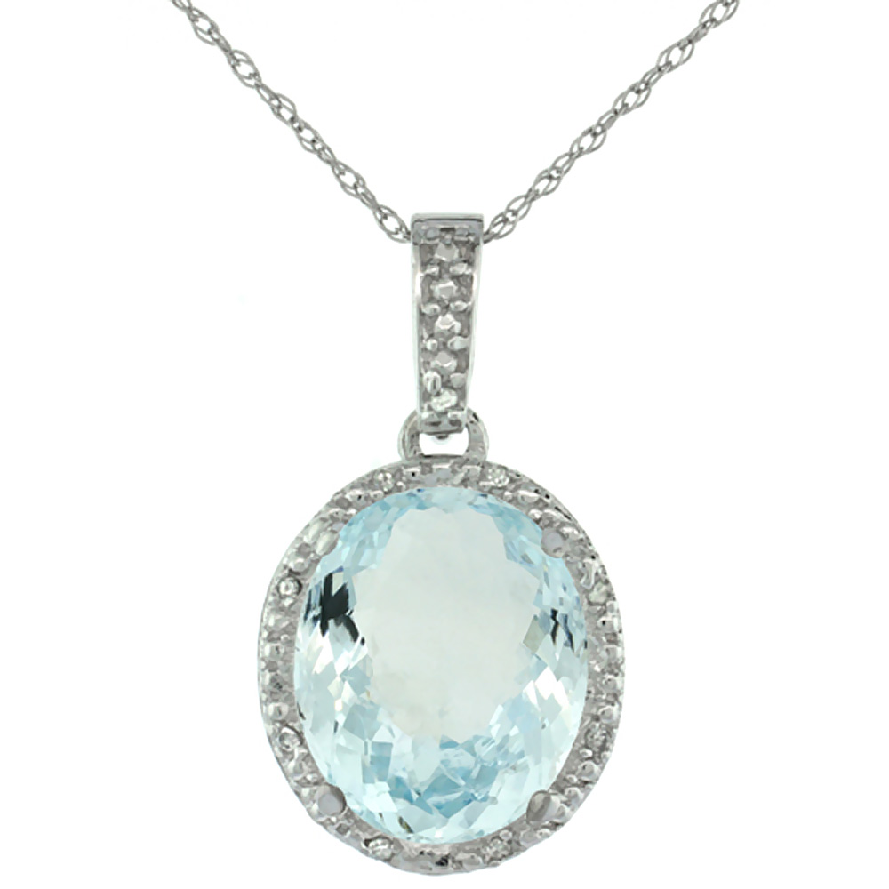 10K White Gold Diamond Natural Aquamarine Pendant Oval 12x10 mm