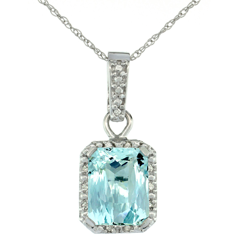 10K White Gold Natural Aquamarine Pendant Octagon 8x6 mm & Diamond Accents