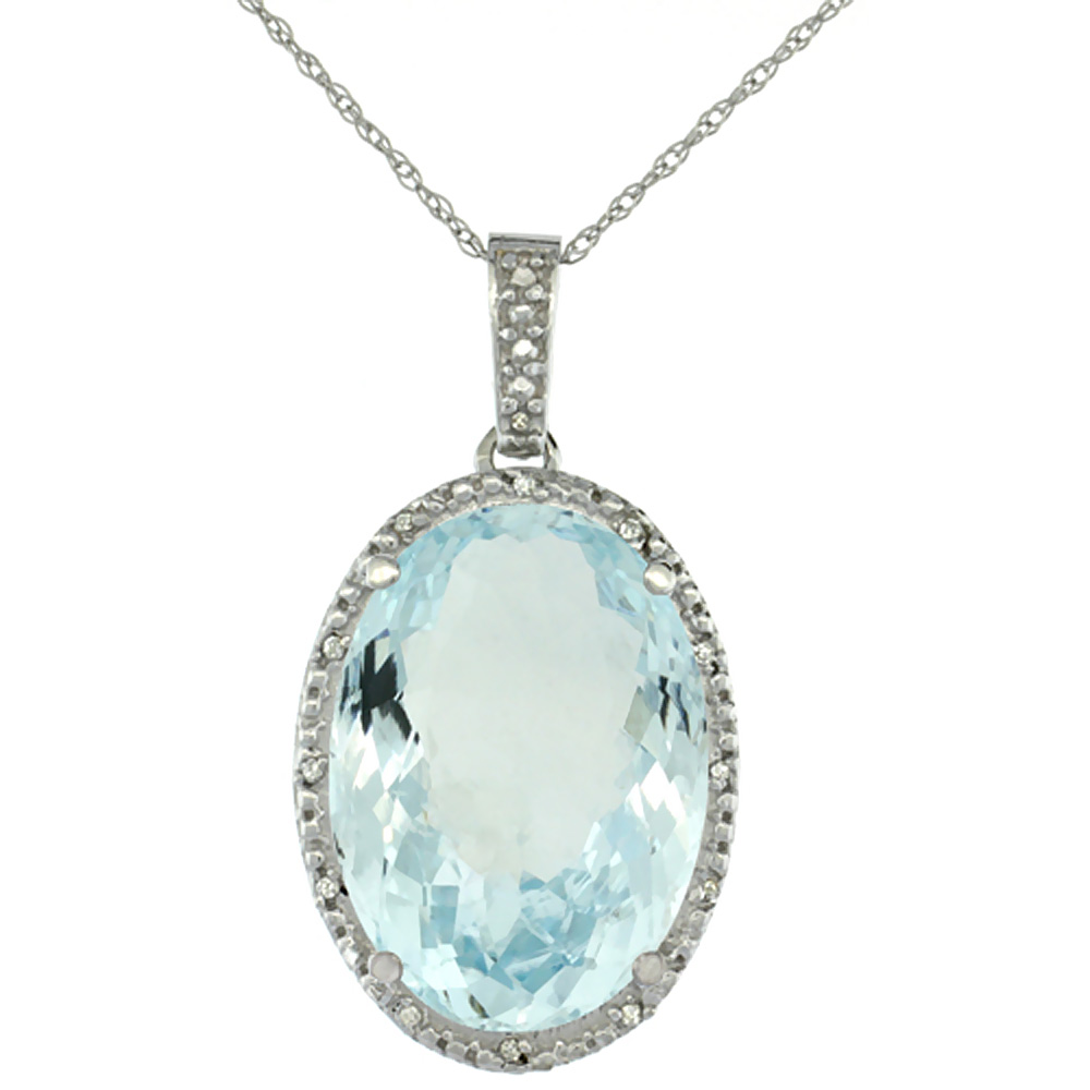 10K White Gold Diamond Natural Aquamarine Pendant Oval 18x13 mm