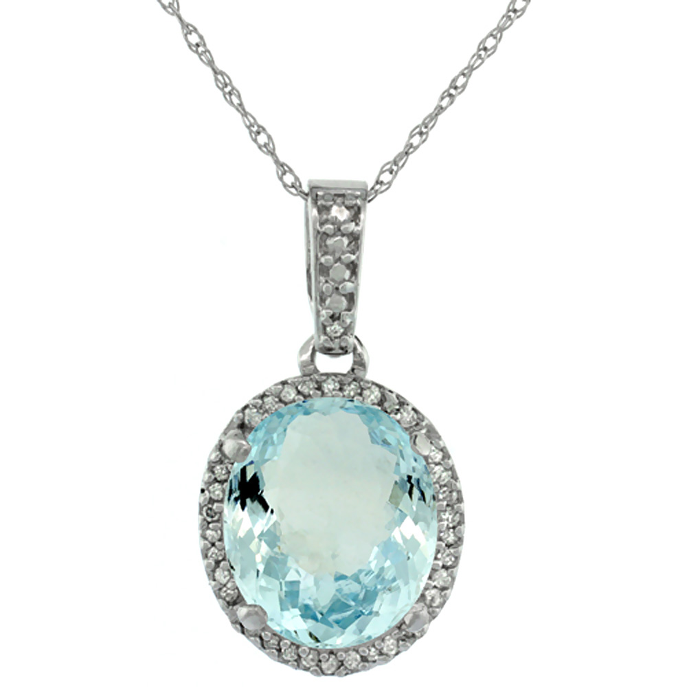 10K White Gold Natural Aquamarine Pendant Oval 11x9 mm
