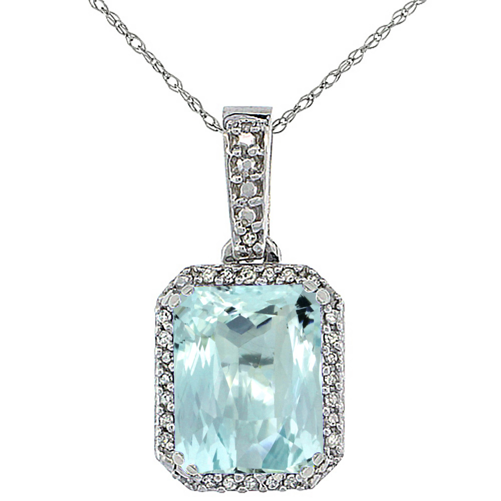 10K White Gold Diamond Natural Aquamarine Pendant Octagon 9x7 mm