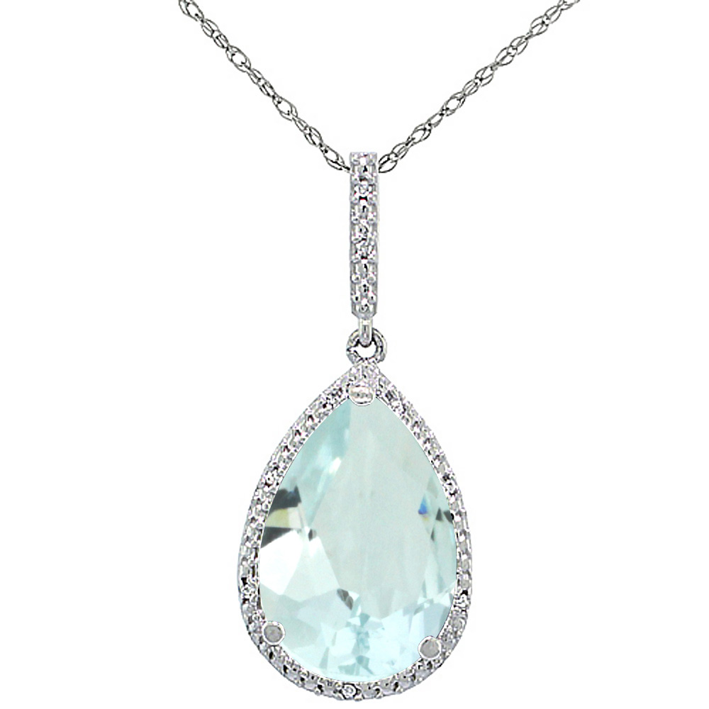 10K White Gold Diamond Natural Aquamarine Pendant Pear Shape 15x10 mm