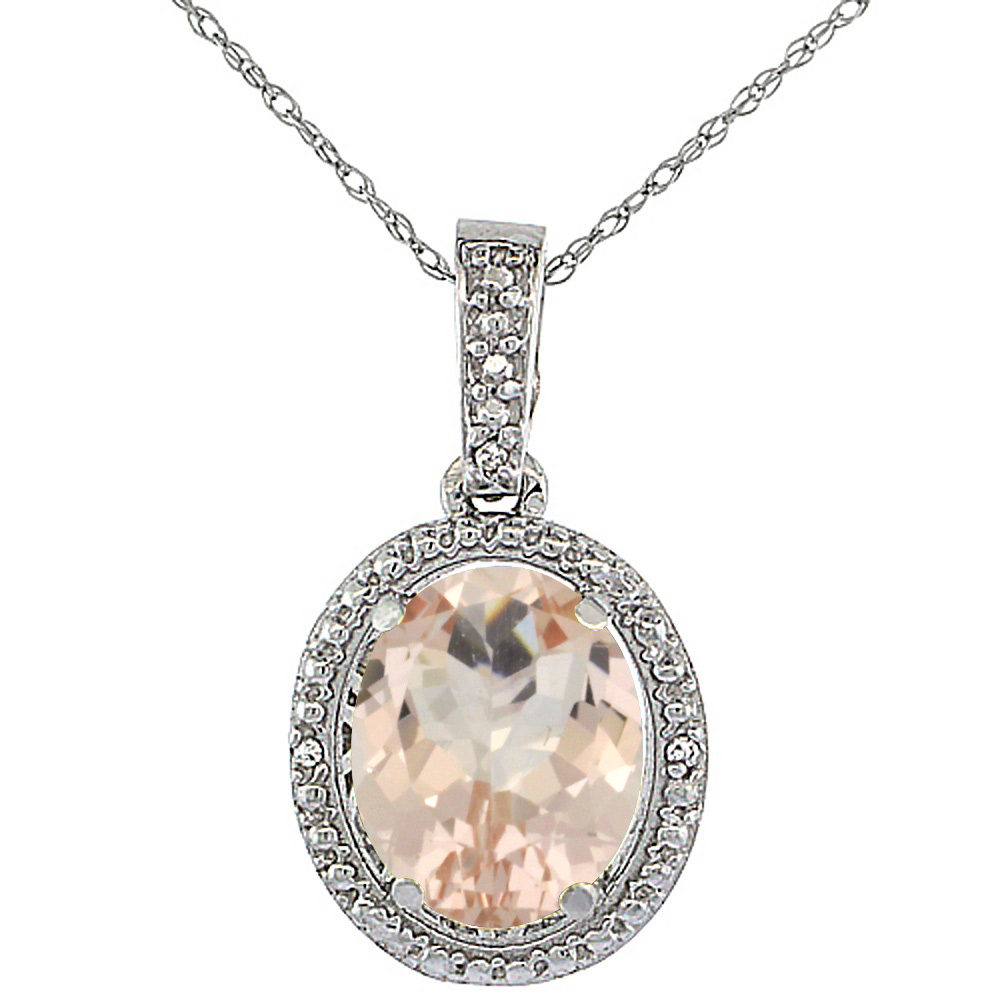 10K White Gold Diamond Natural Morganite Pendant Oval 10x8 mm