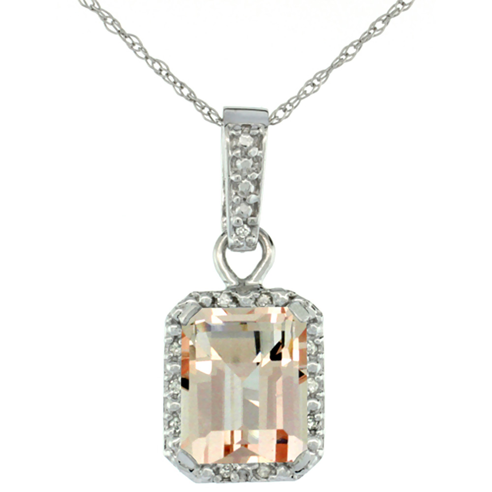 10K White Gold Natural Morganite Pendant Octagon 8x6 mm & Diamond Accents