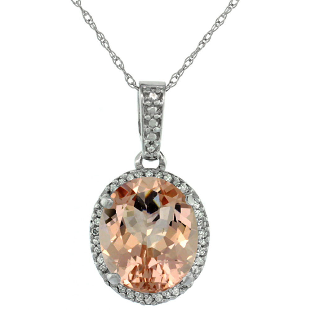 10K White Gold Natural Morganite Pendant Oval 11x9 mm