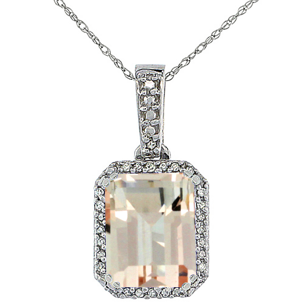 10K White Gold Diamond Natural Morganite Pendant Octagon 9x7 mm