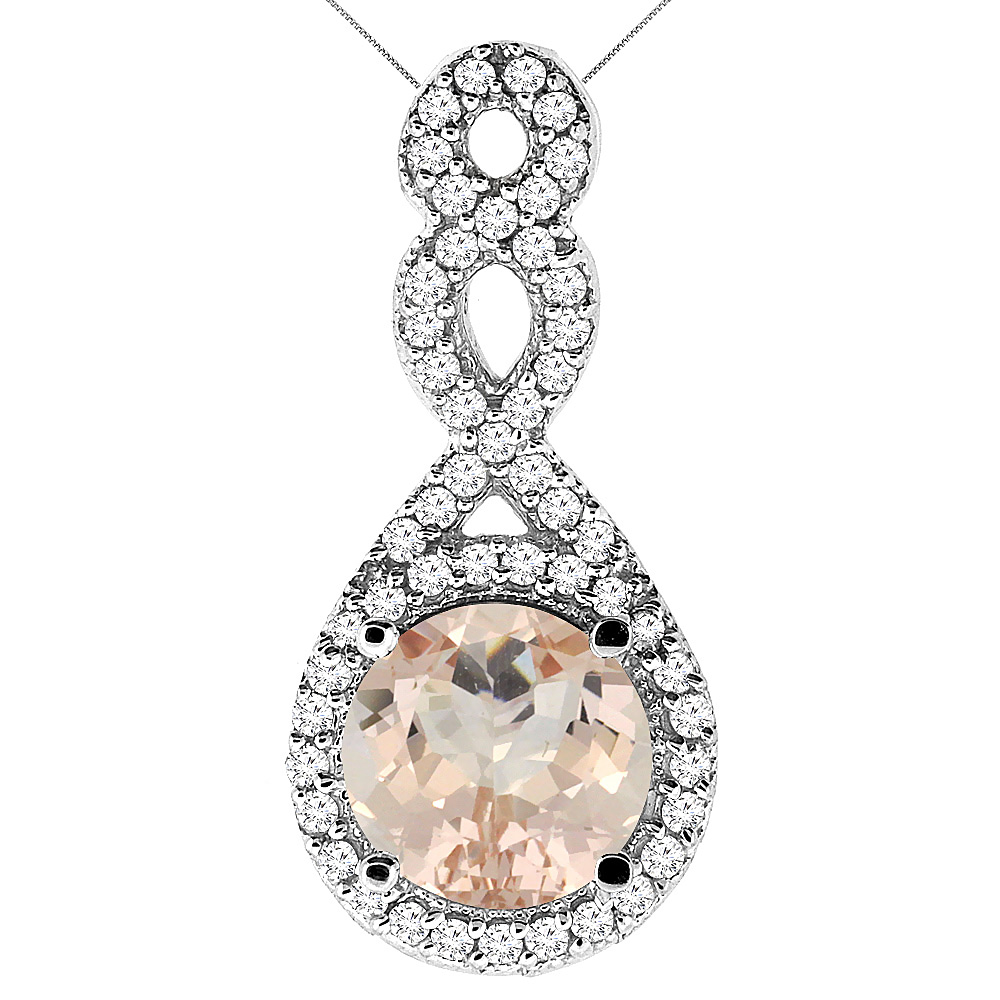 10K White Gold Natural Morganite Eternity Pendant Round 7x7mm with 18 inch Gold Chain