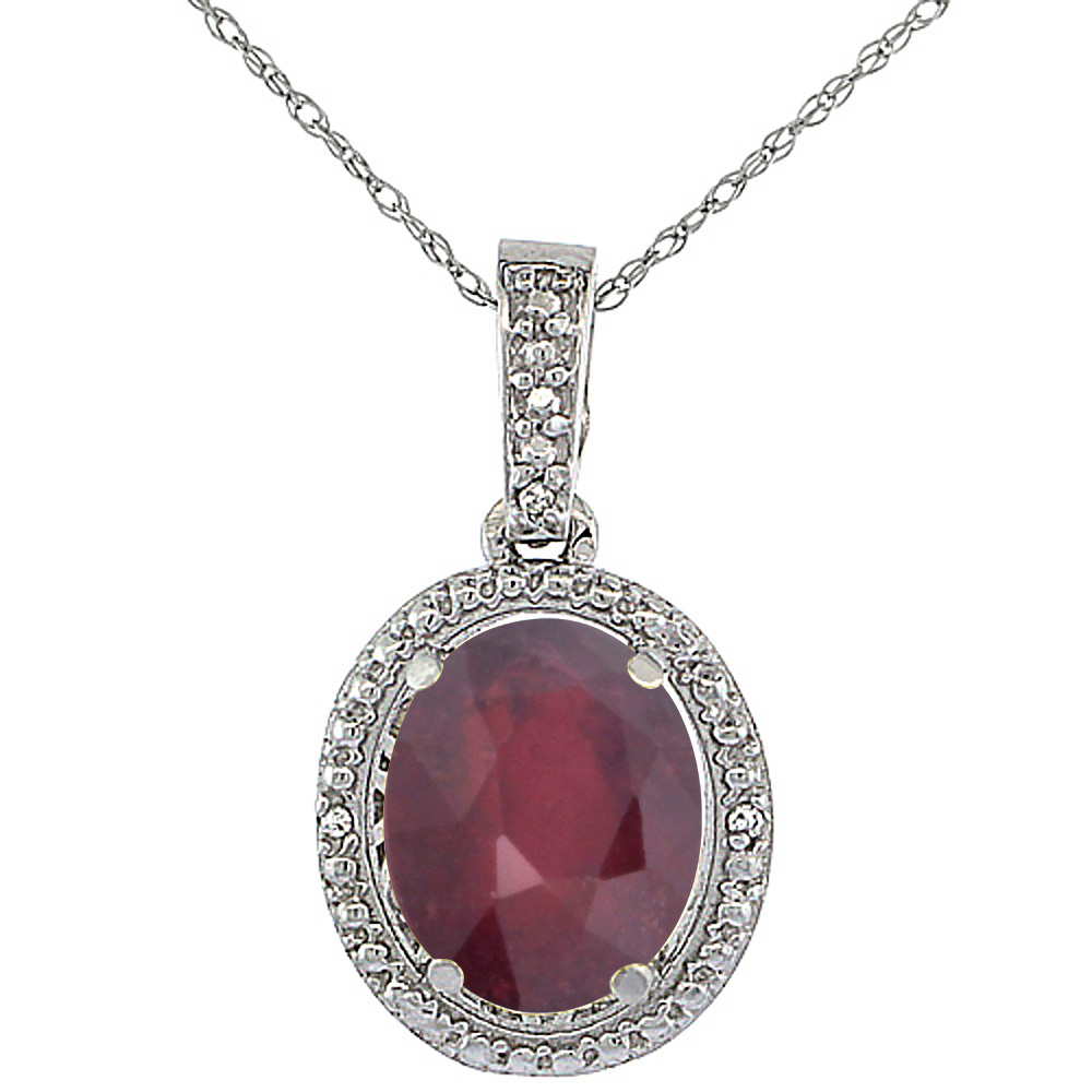 10K White Gold Diamond Enhanced Genuine Ruby Pendant Oval 10x8 mm