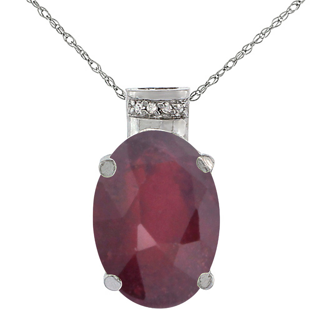 10K White Gold Diamond Enhanced Genuine Ruby Ruby Pendant Oval 14x10 mm