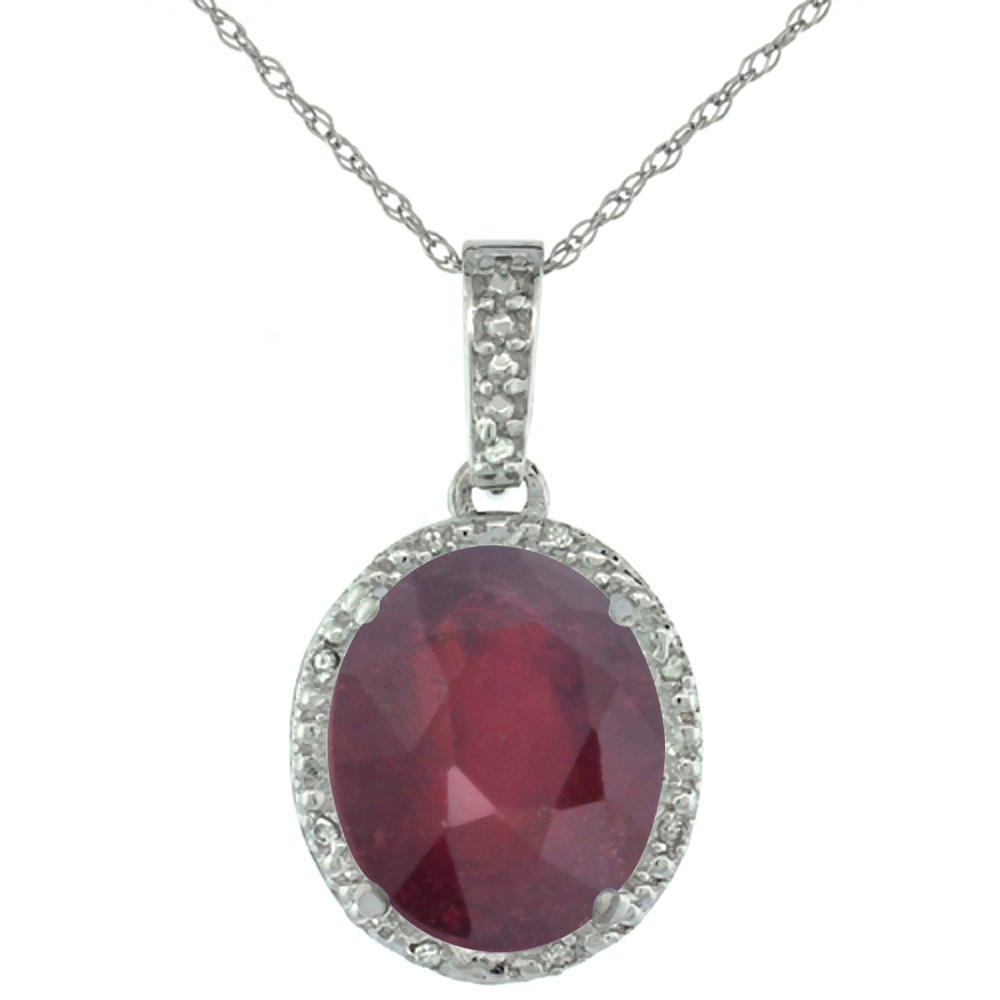 10K White Gold Diamond Enhanced Genuine Ruby Pendant Oval 12x10 mm
