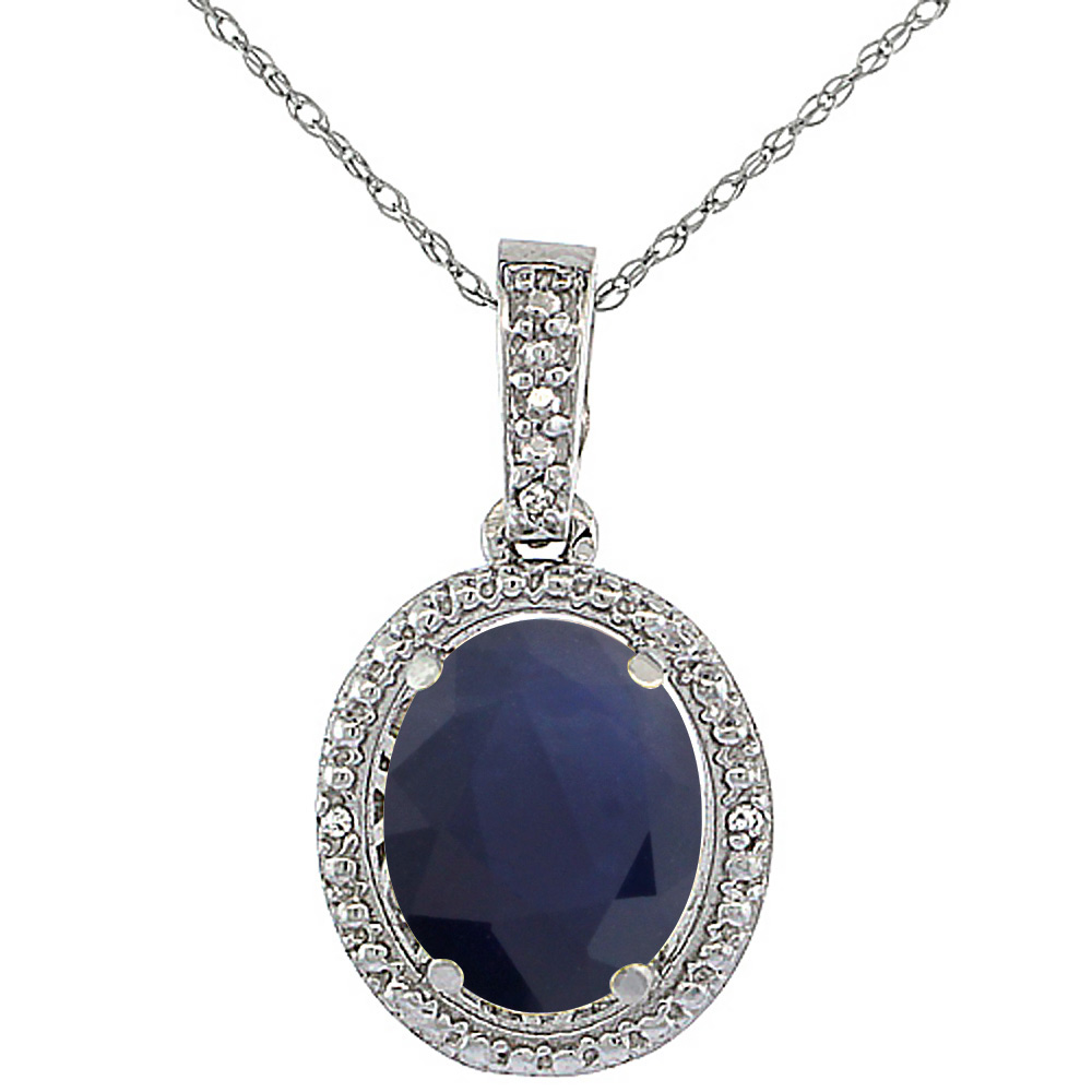 10K White Gold 0.09 cttw Diamond Natural Blue Sapphire Pendant Oval 10x8 mm