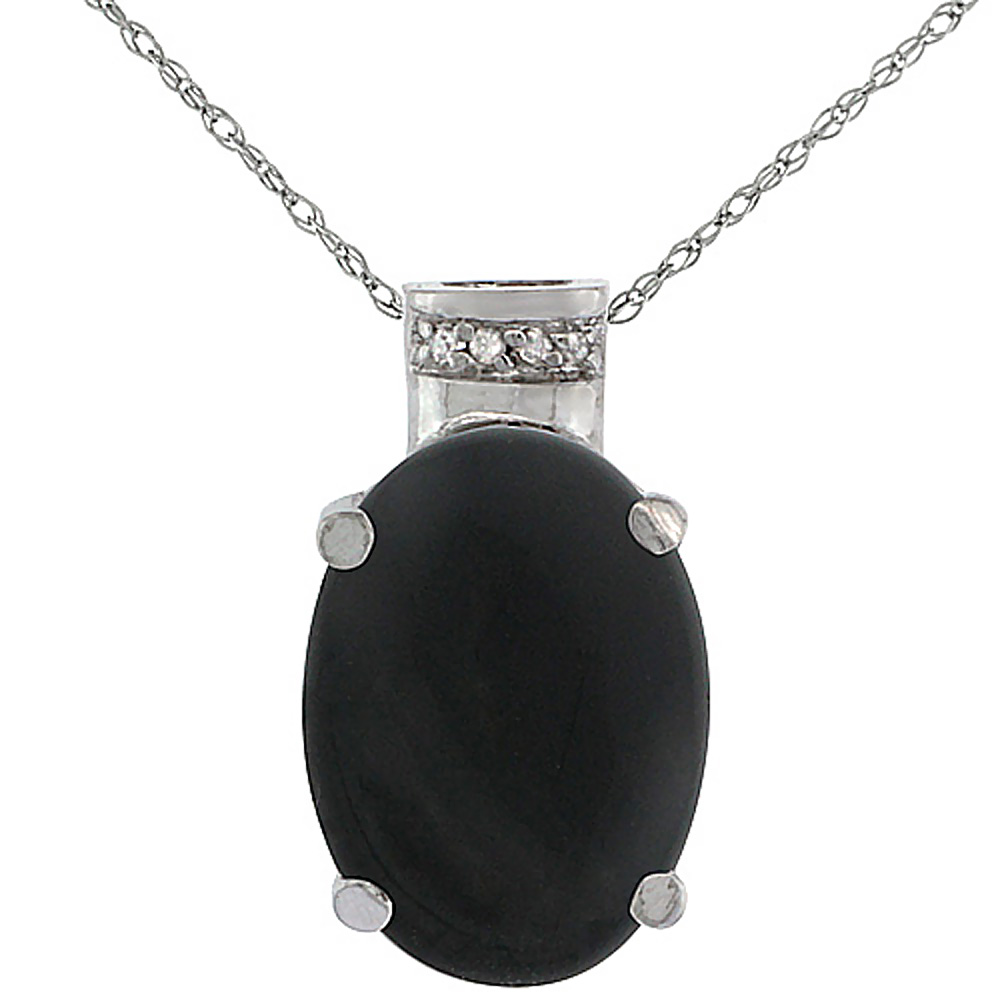 10K White Gold Diamond Natural Black Onyx Pendant Oval 14x10 mm