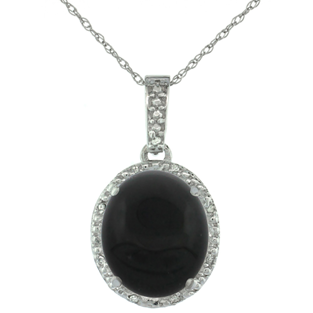 10K White Gold Diamond Natural Black Onyx Pendant Oval 12x10 mm