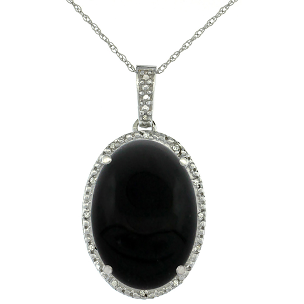 10K White Gold Diamond Natural Black Onyx Pendant Oval 18x13 mm