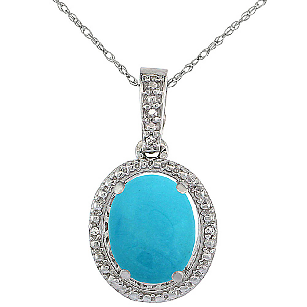 10K White Gold Diamond Natural Turquoise Pendant Oval 10x8 mm