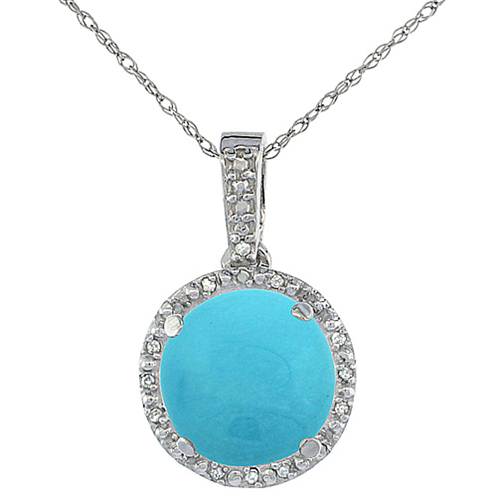 10K White Gold 0.03 cttw Diamond Natural Turquoise Pendant Round 11x11 mm