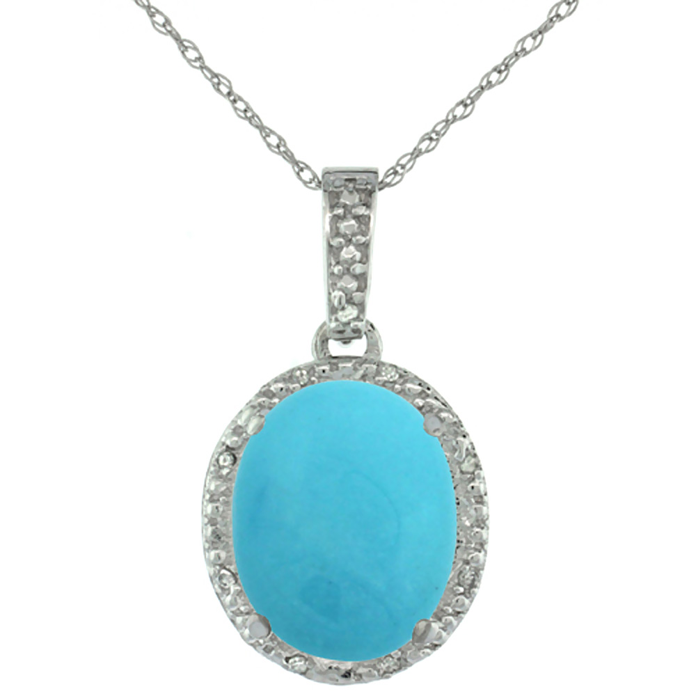 10K White Gold Diamond Natural Turquoise Pendant Oval 12x10 mm