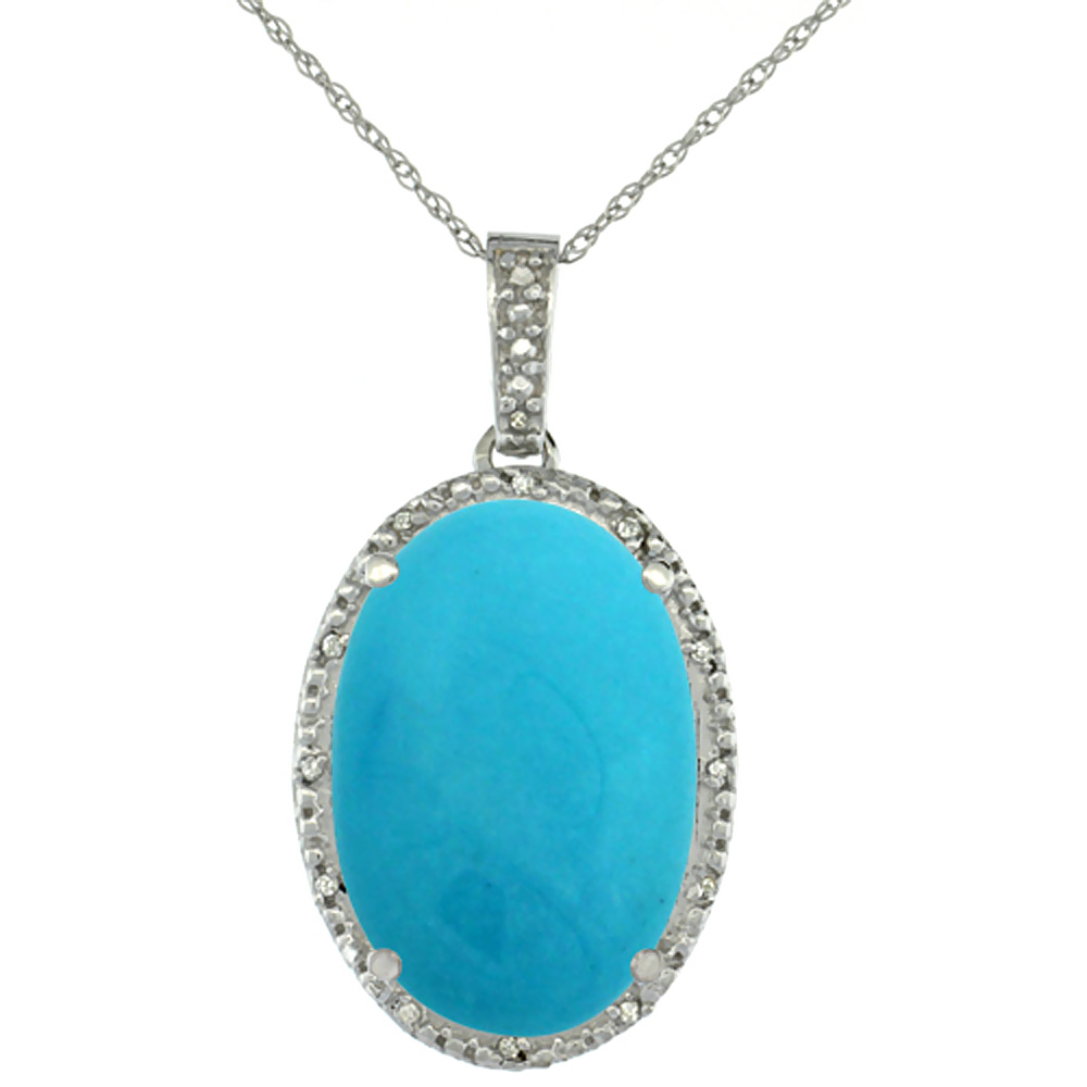 10K White Gold Diamond Natural Turquoise Pendant Oval 18x13 mm
