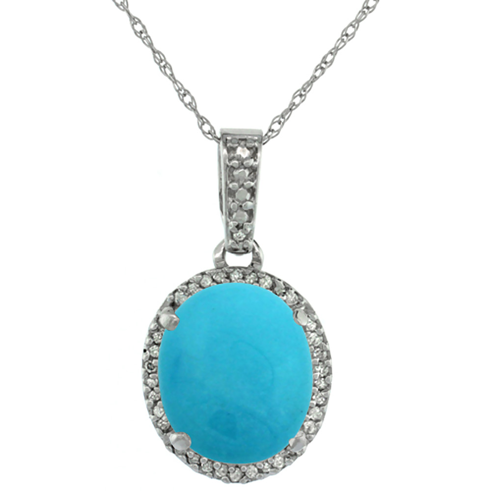 10K White Gold Natural Turquoise Pendant Oval 11x9 mm