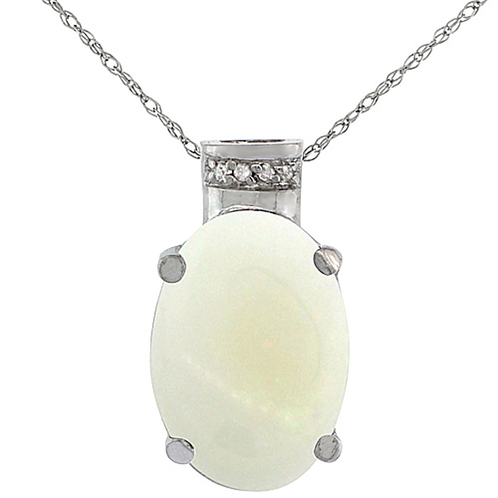 10K White Gold Diamond Natural Opal Pendant Oval 14x10 mm