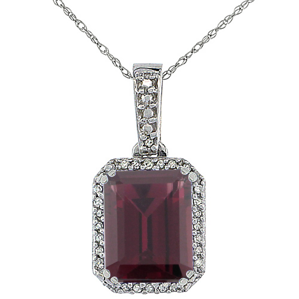 10K White Gold Diamond Natural Rhodolite Pendant Octagon 9x7 mm