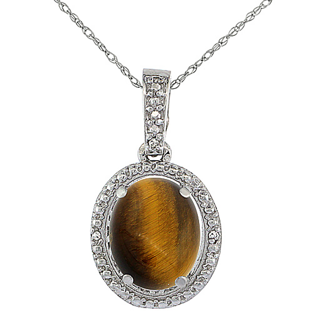 10K White Gold 0.09 cttw Diamond Natural Tiger Eye Pendant Oval 10x8 mm