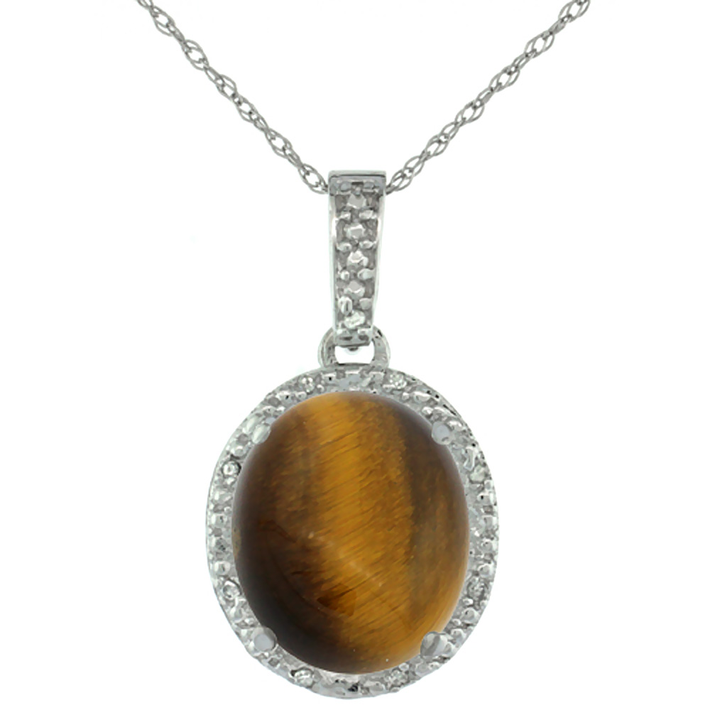 10K White Gold Diamond Halo Natural Tiger Eye Necklace Oval 12x10 mm, 18 inch long