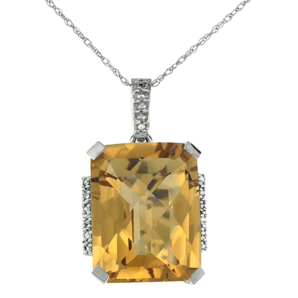 10K White Gold Natural Whisky Quartz Pendant Octagon 16x12 mm & Diamond Accents