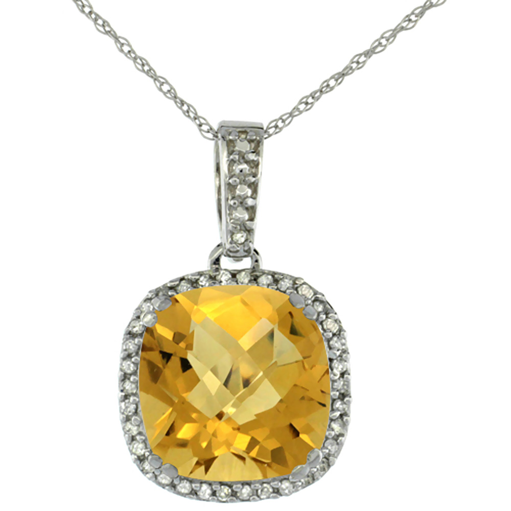 10k White Gold Diamond Halo Natural Whisky Quartz Necklace Cushion Shaped 10x10mm, 18 inch long