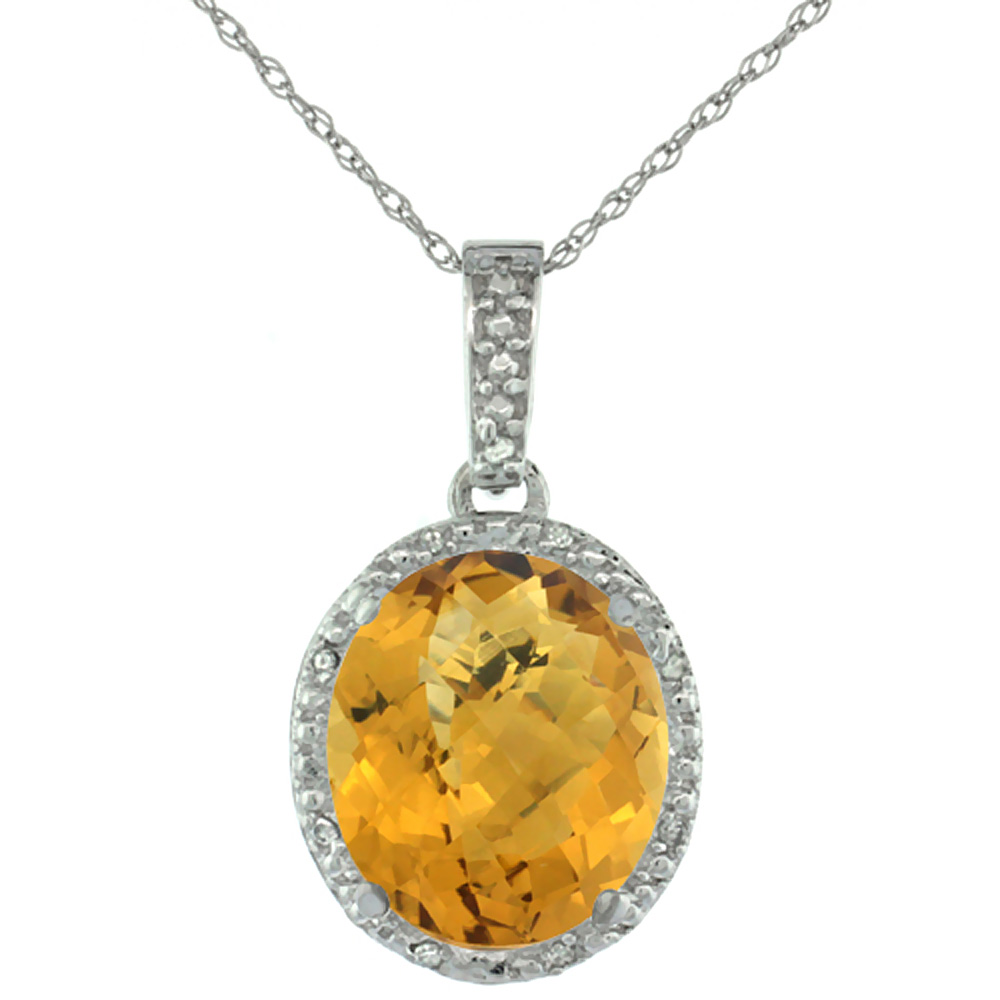 10K White Gold Diamond Halo Natural Whisky Quartz Necklace Oval 12x10 mm, 18 inch long
