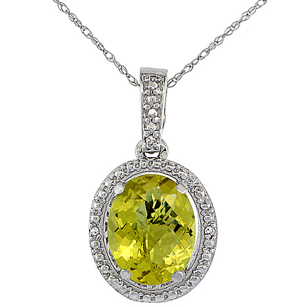 10K White Gold 0.09 cttw Diamond Natural Lemon Quartz Pendant Oval 10x8 mm
