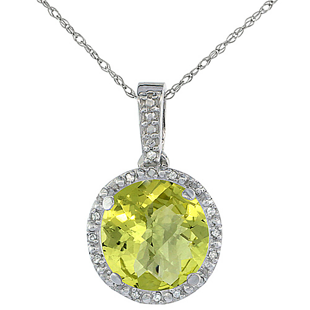 10K White Gold 0.03 cttw Diamond Natural Lemon Quartz Pendant Round 11x11 mm