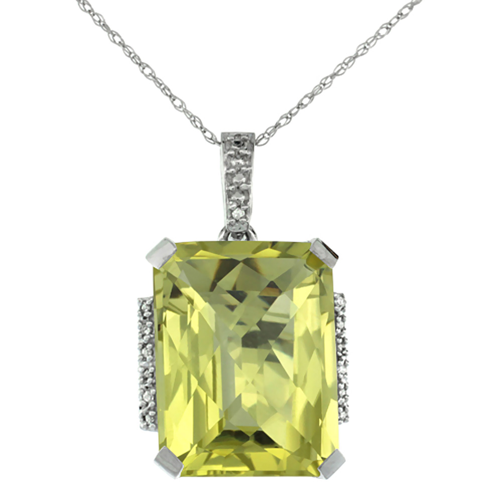 10K White Gold Natural Lemon Quartz Pendant Octagon 16x12 mm & Diamond Accents