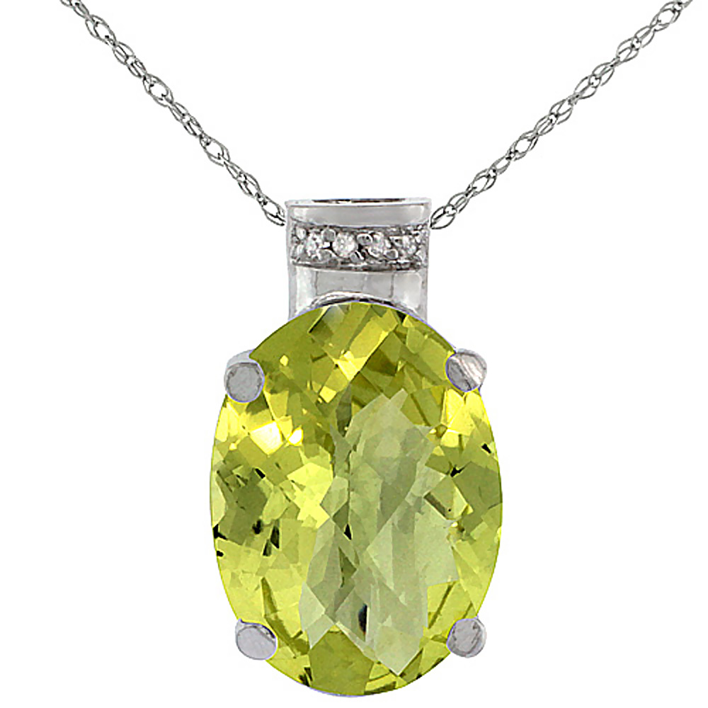 10K White Gold Diamond Natural Lemon Quartz Pendant Oval 14x10 mm