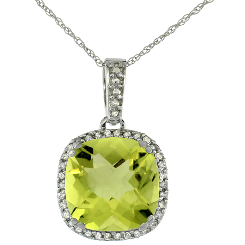 10K White Gold Natural Lemon Quartz Pendant Cushion 10x10 mm & Diamond Accents