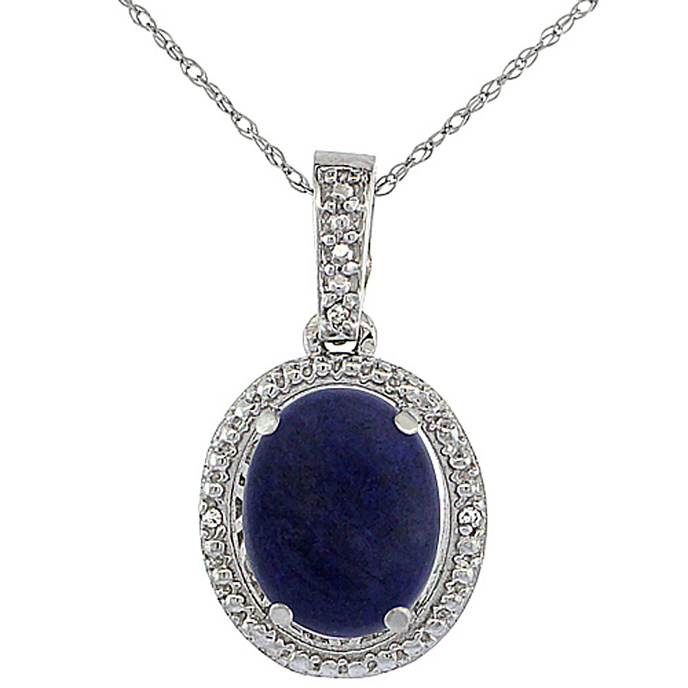 10K White Gold 0.09 cttw Diamond Natural Lapis Pendant Oval 10x8 mm