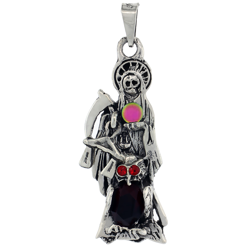 Sterling Silver Santa Muerte Pendant Crystal Ball, 1 3/4 long