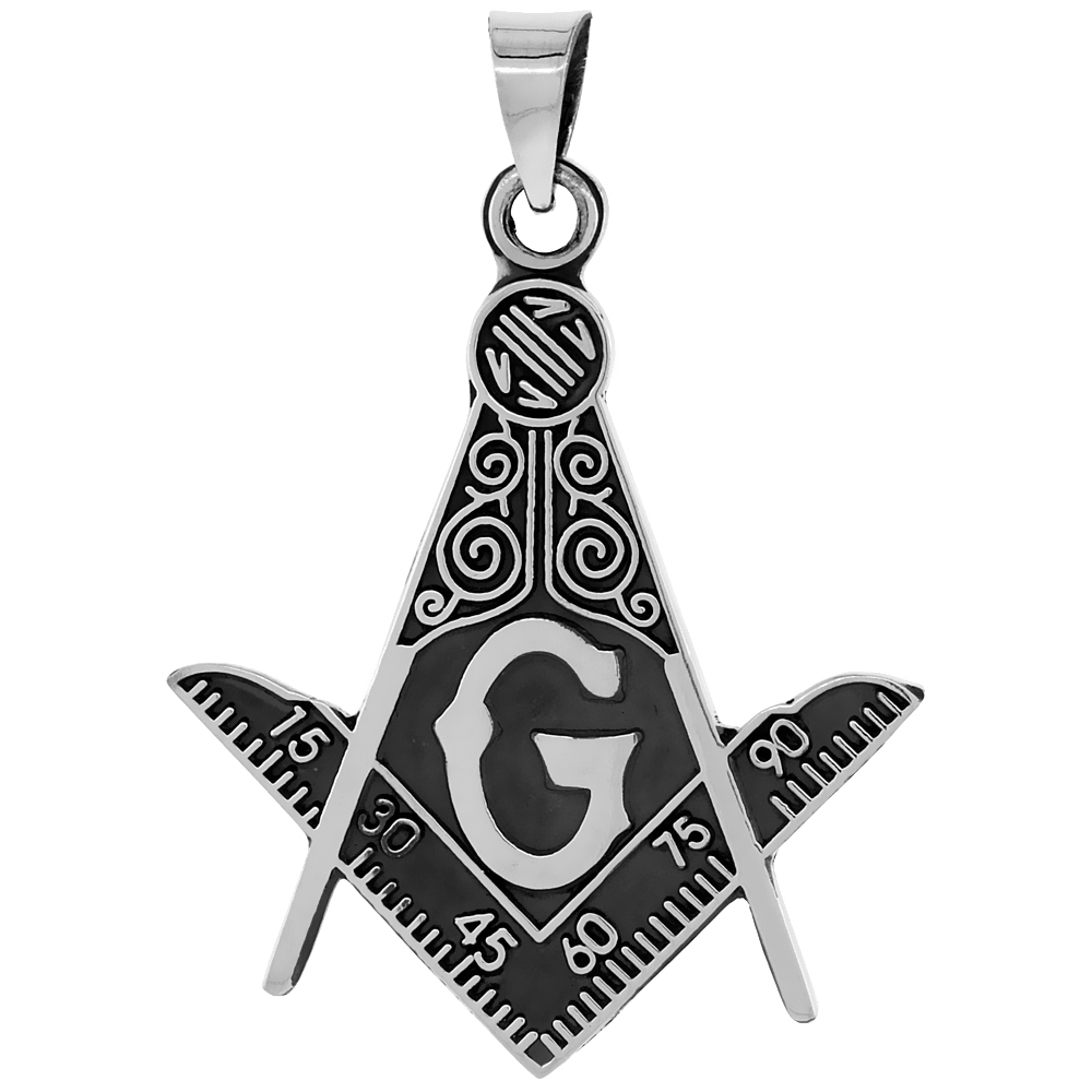 Sterling Silver Masonic Symbol Square & Compass Pendant Handmade, 49mm long