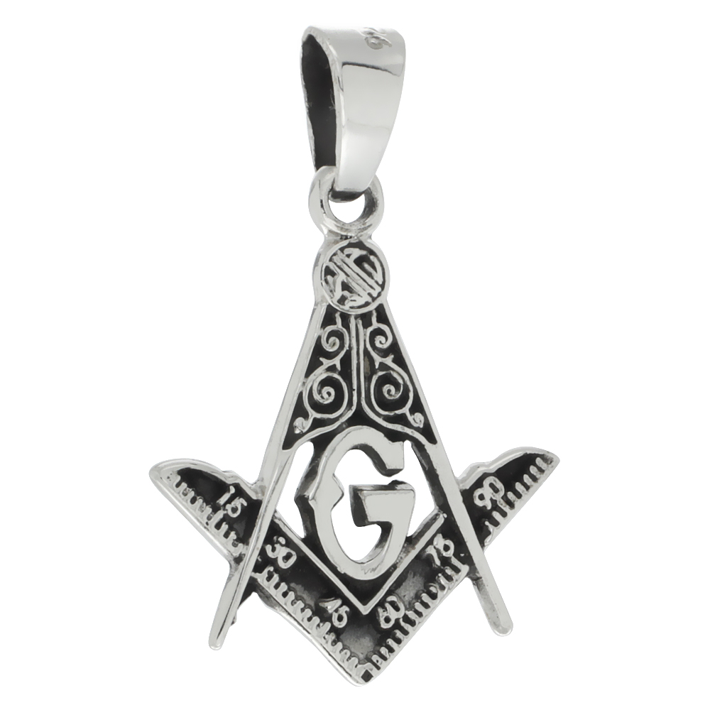 Sterling Silver Masonic Symbol Square & Compass Pendant Handmade 1 1/8 inch (28mm) tall