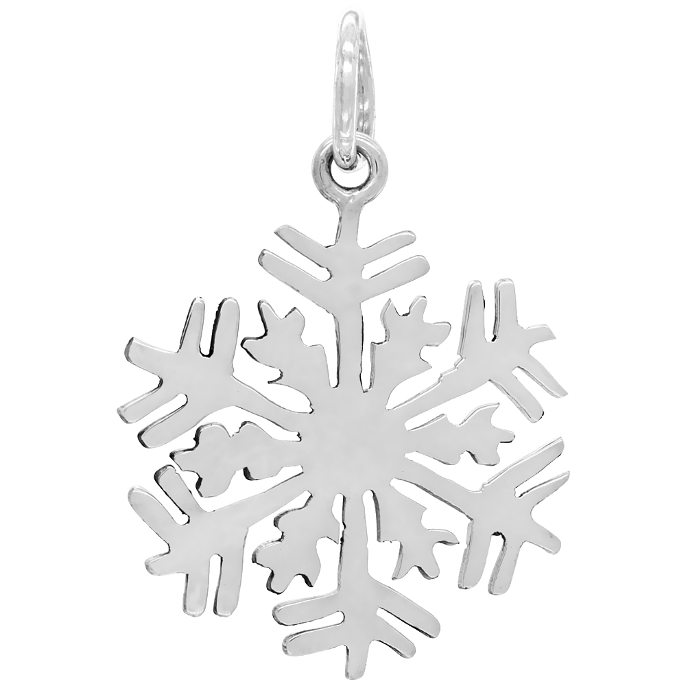 Sterling Silver Snowflake Pendant Medium Size Handmade 1 3/8 inch , NO Chain Included