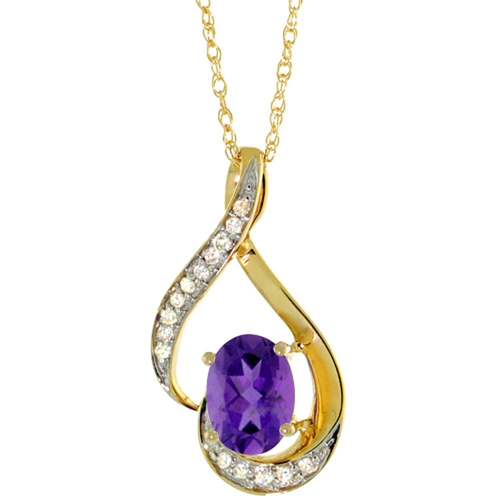 14K Yellow Gold Diamond Natural Amethyst Necklace Oval 7x5 mm, 18 inch long