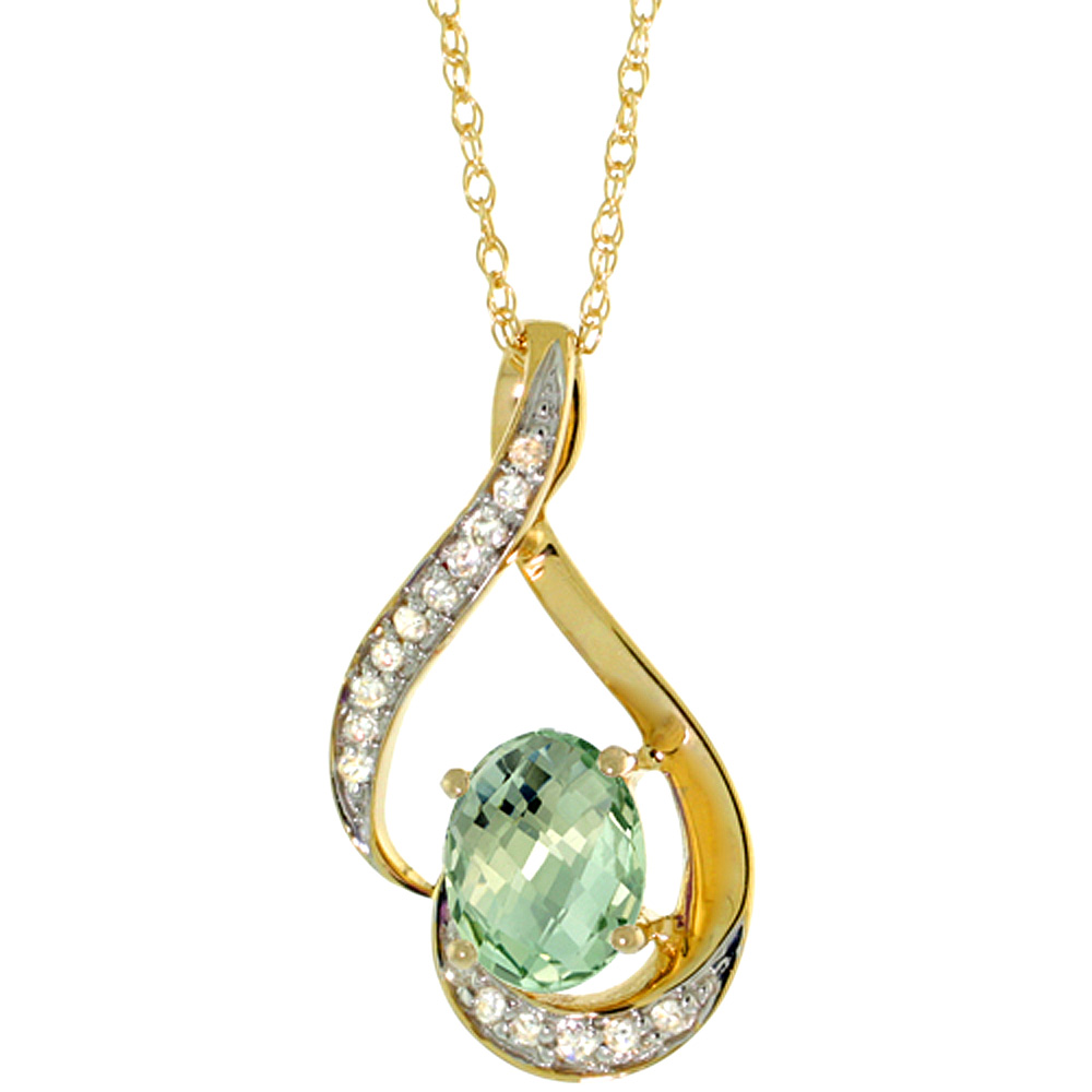 14K Yellow Gold Diamond Natural Green Amethyst Necklace Oval 7x5 mm, 18 inch long