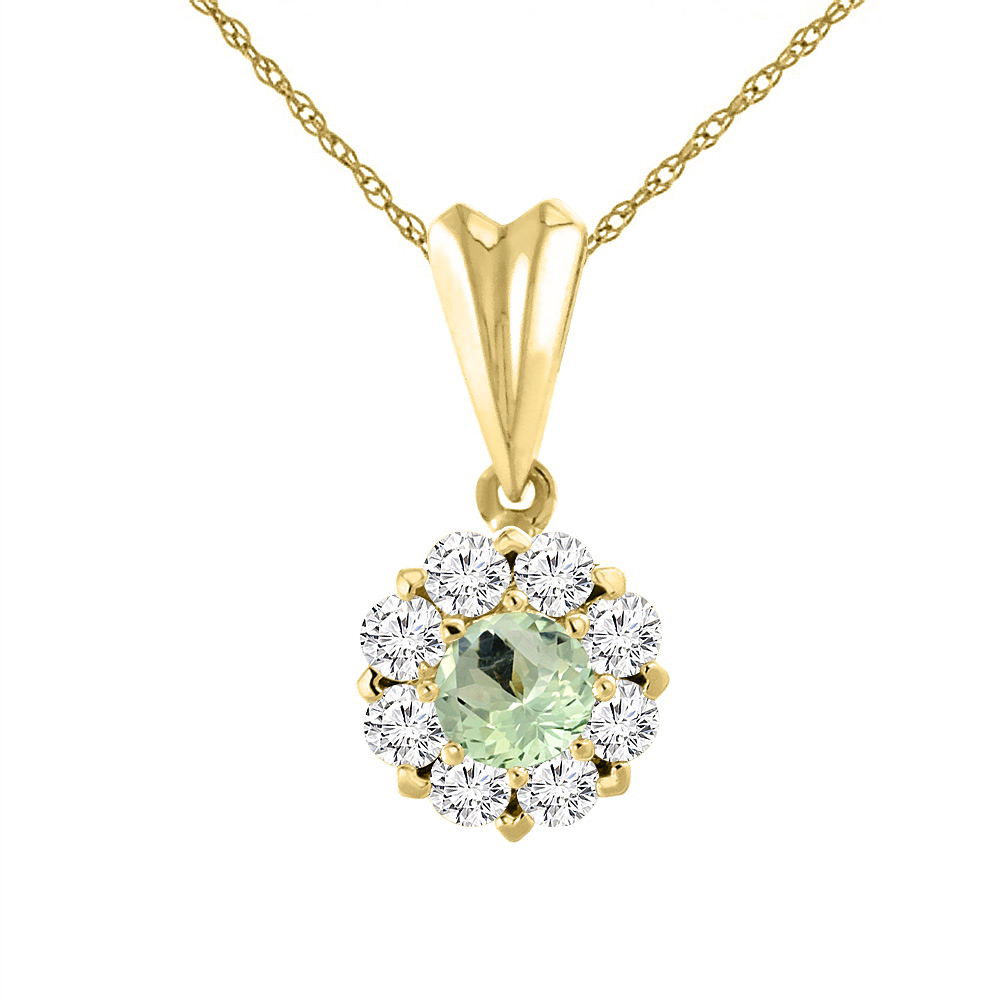 14K Yellow Gold Natural Green Amethyst Necklace with Diamond Halo Round 4 mm