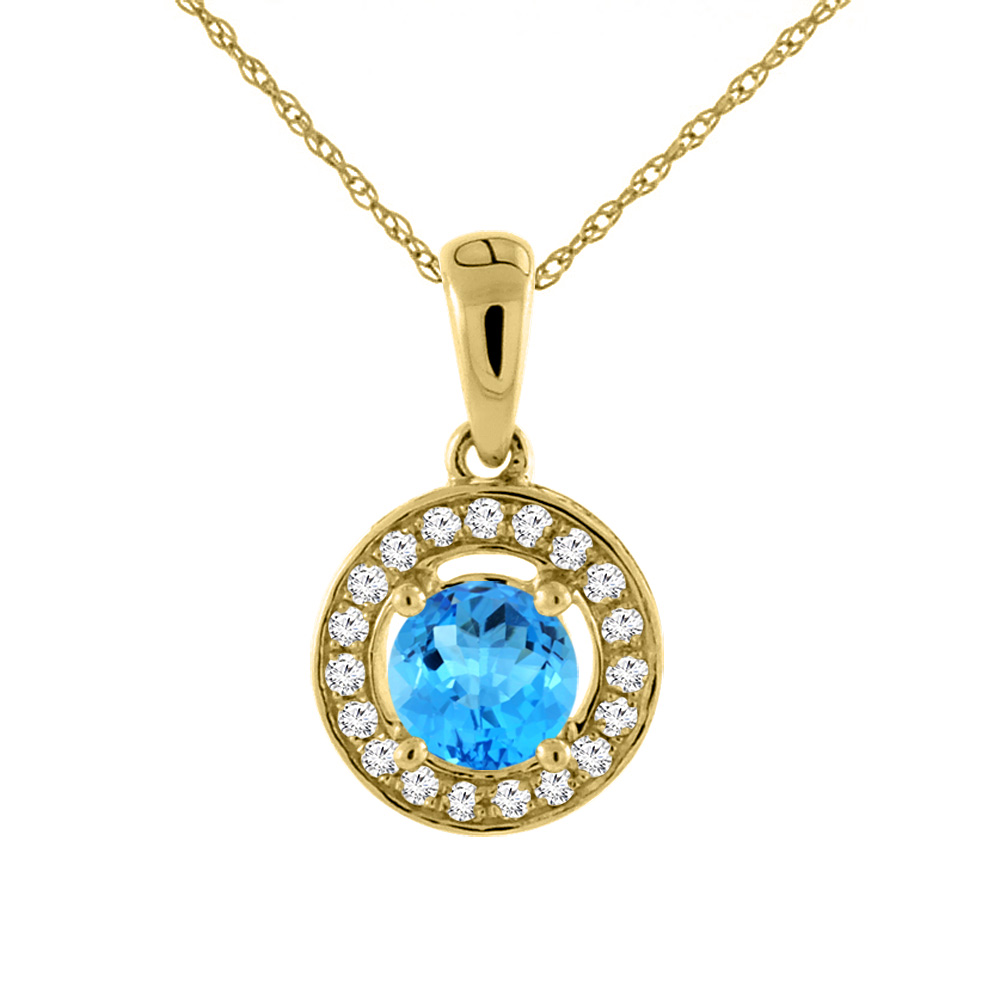 14K Yellow Gold Natural Swiss Blue Topaz Necklace with Diamond Halo Round 5 mm