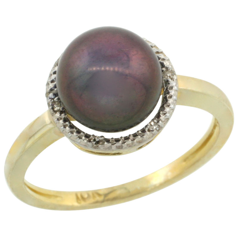 10k Gold Halo Engagement 8.5 mm Black Pearl Ring w/ 0.022 Carat Brilliant Cut Diamonds, 7/16 in. (11mm) wide