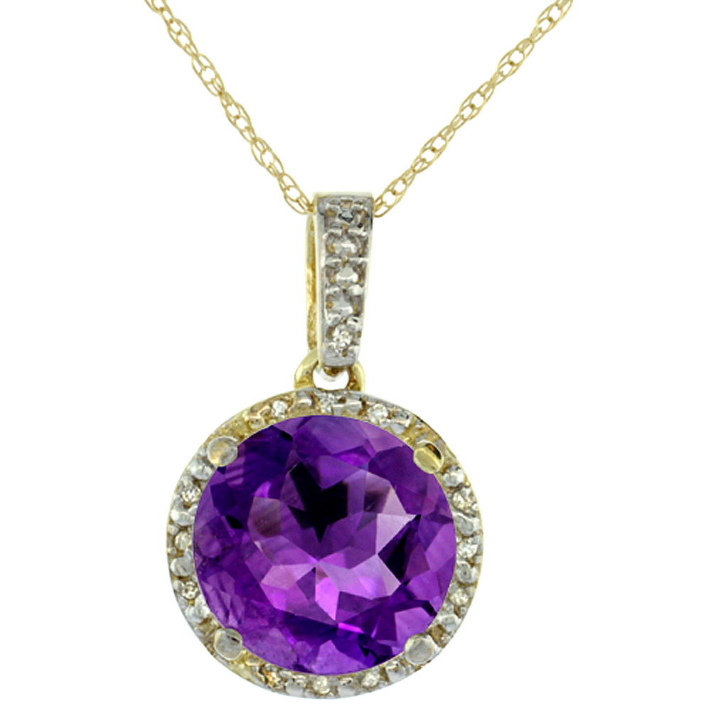 10K Yellow Gold Natural Amethyst Pendant Round 11x11 mm & Diamond Accents