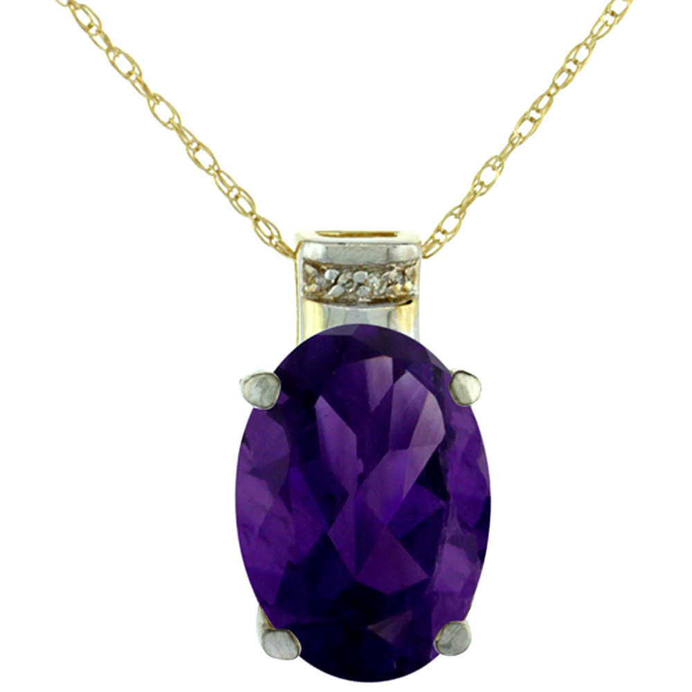 10K Yellow Gold Diamond Natural Amethyst Pendant Oval 14x10 mm
