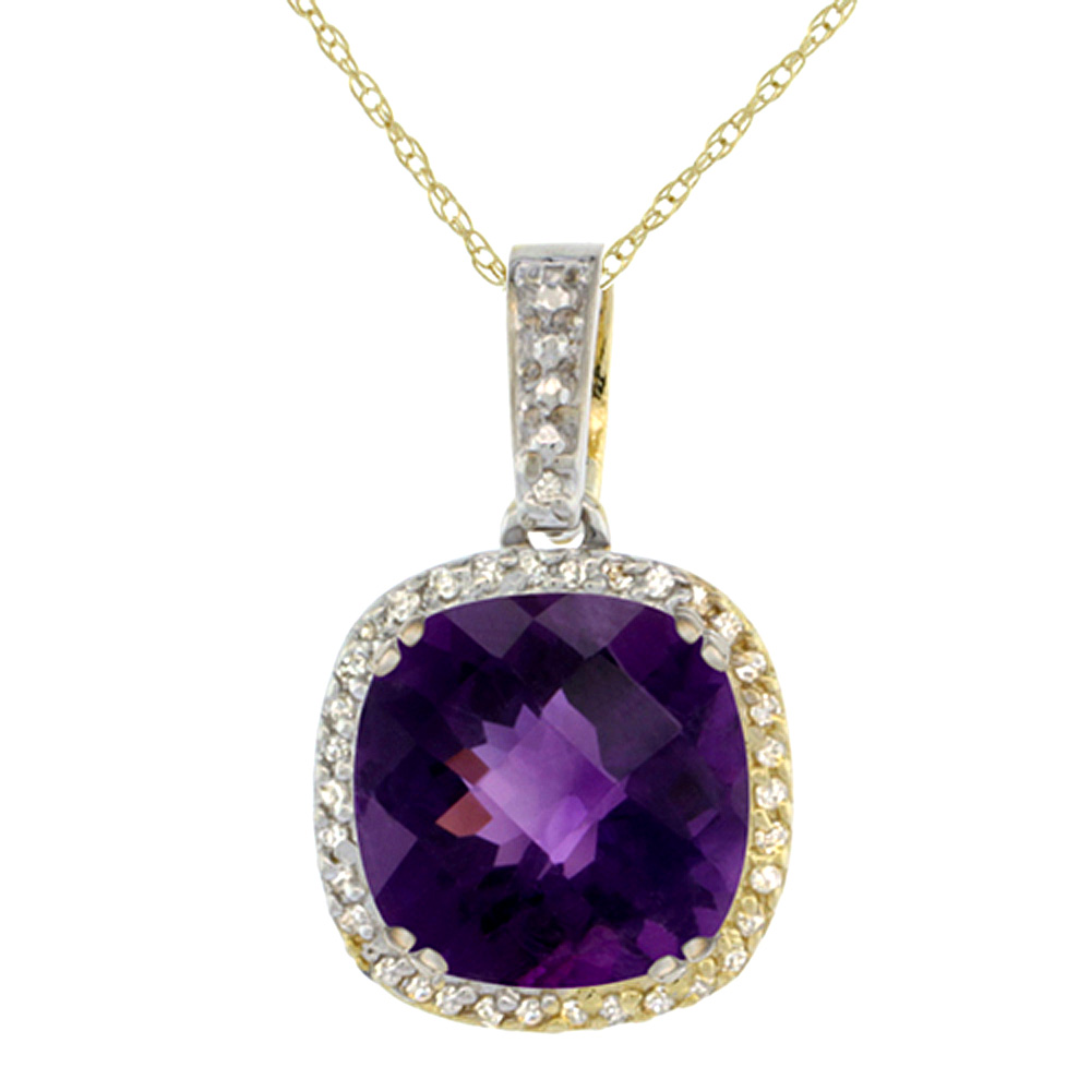 10K Yellow Gold Natural Amethyst Pendant Cushion 10x10 mm & Diamond Accents