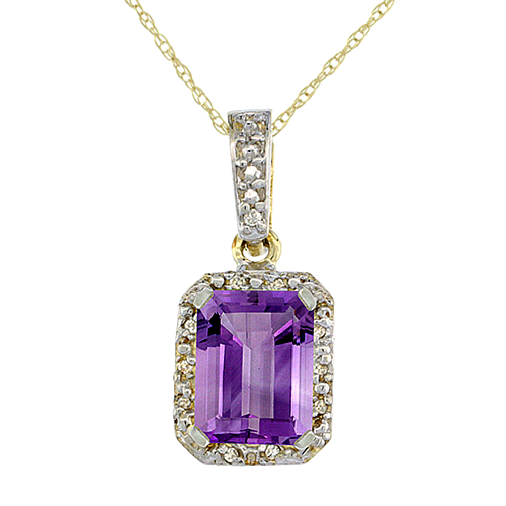 10K Yellow Gold Natural Amethyst Pendant Octagon 8x6 mm & Diamond Accents