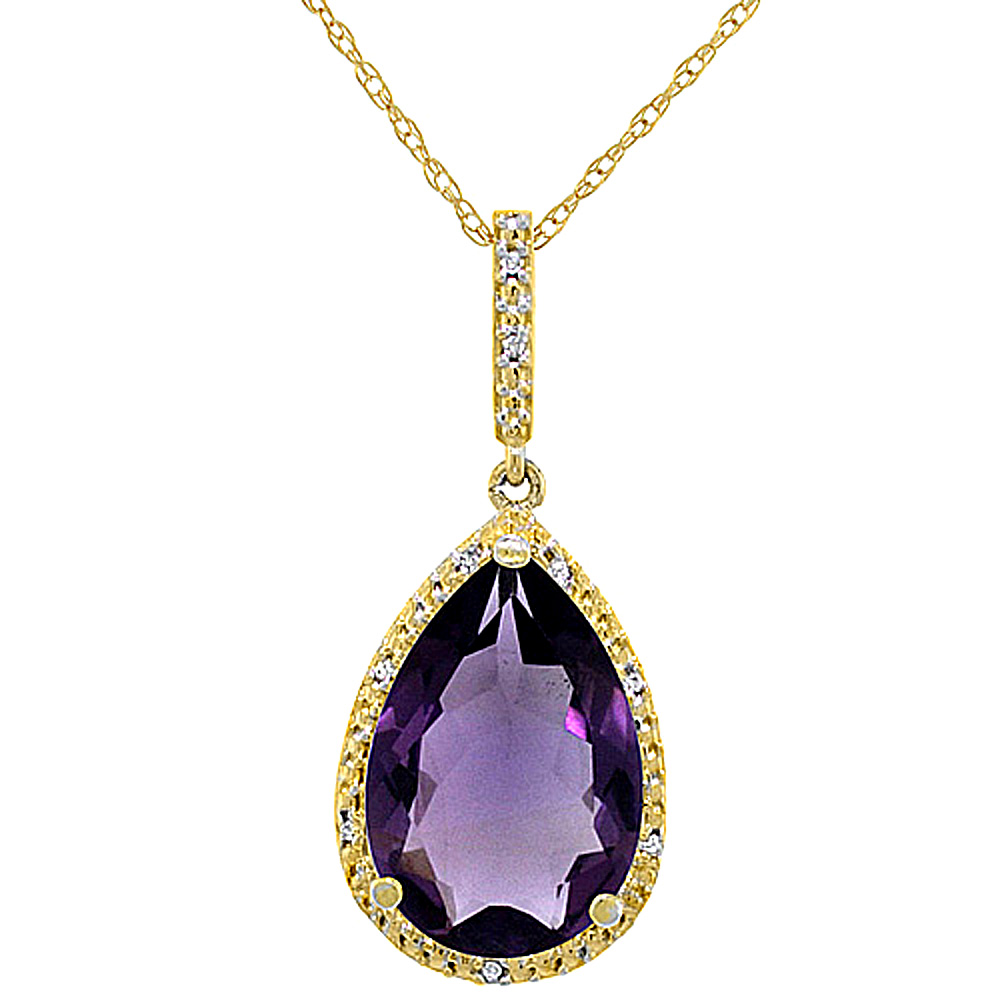 10K Yellow Gold Diamond Natural Amethyst Pendant Pear Shape 15x10 mm